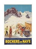 Rochers De Naye, Swiss Ski Travel Poster Giclée-Druck
