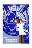 Soviet Poster Celebrating Atom Reproduction procédé giclée