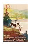 Visit Lapland and Rovaniemi, Finland, Poster in French Giclée-tryk