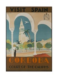 Visit Spain, Cordoba Court of the Caliphs Spanish Travel Poster Stampa giclée