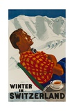 Winter in Switzerland Travel Poster Reproduction procédé giclée