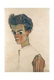 Self-Portrait with Striped Shirt Giclee Print by Egon Schiele
