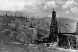 Oil Rigs Near Taft, California Photographic Print