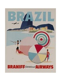 Braniff Airways Travel Poster, Brazil Reproduction procédé giclée