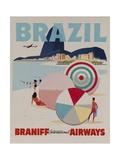 Braniff Airways Travel Poster, Brazil Giclée-Druck