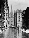 Wall Street and Trinity Church Spire, New York Fotografisk tryk af J.S. Johnston