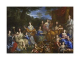 Louis XIV and the Royal Family as Divinities on Mt. Olympus Giclee Print by Jean Nocret