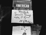Boy Wanted Sign in New York Photographic Print by Lewis Wickes Hine