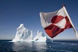 Greenland Flag on Arctic Umiaq Line Ferry Photographic Print by Paul Souders