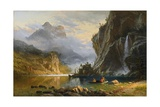Indians Spearfishing Giclée-tryk af Albert Bierstadt