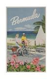 Bermuda Travel Poster, Couple on Bicycle Lámina giclée