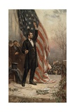 Abraham Lincoln with American Flag Giclee Print