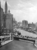 Downtown Chicago View Looking West, Ca. 1928 Reproduction photographique