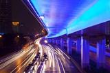 Traffic Beneath Neon-Lit Elevated Road Reproduction photographique par Paul Souders