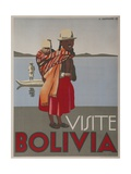 Visit Bolivia 1935 Travel Poster Giclée-tryk