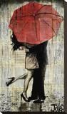 The Red Umbrella Opspændt lærredstryk af Loui Jover