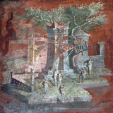 Italy, Naples, Naples Museum, from Pompeii, Illustration with Landscape, The Porticus Fotografisk tryk af Samuel Magal