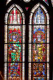 France, Alsace, Strasbourg, Strasbourg Cathedral, Stained Glass Window, Charles Martel and Charlema Photographic Print by Samuel Magal