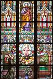 Prague, St. Vitus Cathedral, Stained Glass Window, St Thomas, St Anthony Kneeling before Baby Jesus Fotografisk trykk av Samuel Magal