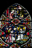 England, Salisbury, Salisbury Cathedral, Stained Glass Window, Scenes from The New Testament Photographic Print by Samuel Magal