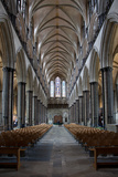 England, Salisbury, Salisbury Cathedral, Interior, Nave, Looking West Photographic Print by Samuel Magal