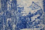 Portugal, Porto, Capela Das Almas, Azulejo, Detail, St. Francis receives the Stigmata Stampa fotografica di Samuel Magal