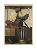 Poster with Woman in Vintage Automobile Holding Up Sherry Glass Gicléetryck av Ramon Casas Carbo