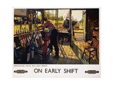 On Early Shift Railroad Advertisement Poster Giclée-tryk af Terence Tenison Cuneo