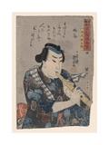 Goshaku Somegoro Playing Shakuhachi Giclée-tryk af Kuniyoshi Utagawa