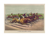 A Head and Head Finish Giclee-trykk av Currier & Ives,