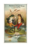 Frog Versus Toad Red Cross Cough Drops Advertisement Giclée-vedos