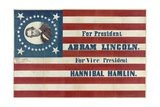 Campaign Banner for Presidential Candidate Abraham Lincoln and Running Mate Hannibal Hamlin Reproduction procédé giclée