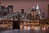 Brooklyn Bridge and Manhattan Skyline, New York City Fotografisk tryk af Paul Souders