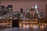 Brooklyn Bridge and Manhattan Skyline, New York City Lámina fotográfica por Paul Souders