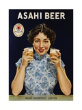Asahi Beer Poster with Machiko Kyo Giclée-tryk