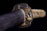 Close-Up View of 19th Century Samurai Sword Lámina fotográfica