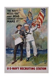The Navy Needs You! U.S. Navy Recruiting Station Poster Giclee Print by James Montgomery Flagg