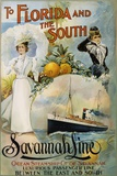 To Florida and the South - Savannah Line Poster Reproduction photographique