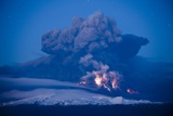 Lightning in Ash Cloud During Eyjafjallajokull Eruption Photographic Print by Paul Souders
