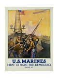 U.S. Marines - First to Fight for Democracy Recruiting Poster Giclee Print by L.a. Shafer
