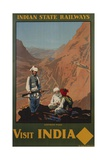 Visit India - Indian State Railways, Khyber Pass Poster Giclée-Druck von W.S Bylityllis