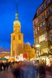 St. Reinoldi Church and Christmas Market at Dusk, Dortmund, North Rhine-Westphalia, Germany, Europe Fotografisk trykk av Frank Fell