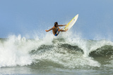 Surfer on Shortboard Riding Wave at Popular Playa Guiones Surf Beach Reproduction photographique par Rob Francis