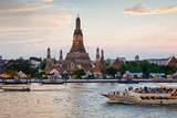 Wat Arun (Temple of the Dawn) and Chao Phraya River at Sunset Photographic Print by Gavin Hellier