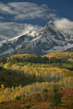 Mears Peak with Snow and Yellow Aspens in the Fall Photographic Print by James Hager