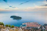 View over Dubrovnik, Lokum Island and Adriatic Sea, Dubrovnik, Dalmatian Coast, Croatia, Europe Fotografisk trykk av Matthew Williams-Ellis