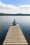 Woman Meditating on a Jetty, Lake Ianthe, West Coast, South Island, New Zealand, Pacific Fotografisk trykk av Matthew Williams-Ellis