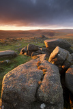 Moorland View at Belstone with Granite Outcrops, Near Okehampton, Dartmoor Np, Devon, England, UK 写真プリント : ロス・ホディノット