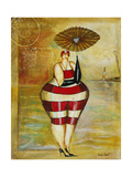 Vintage Beach Girl Red Stripes Giclée-Druck von Jennifer Garant