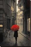 Red Rain Bedruckte aufgespannte Leinwand von Stefano Corso
